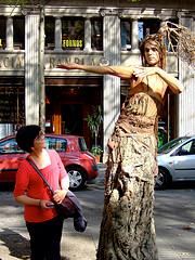Foto mit einer Statue auf den Ramblas